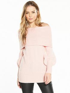 v-by-very-fluffy-bardot-blouson-sleeve-tunic-soft-pink