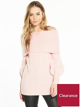 v-by-very-fluffy-bardot-blouson-sleeve-tunic-soft-pink