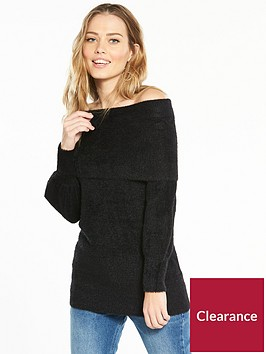 v-by-very-fluffy-bardot-blouson-sleeve-tunic-black