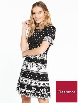 v-by-very-mono-jacquardnbspknitted-dress
