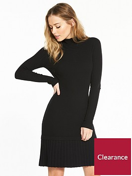 v-by-very-pleated-drop-waist-roll-neck-ribbed-knitted-dress-black