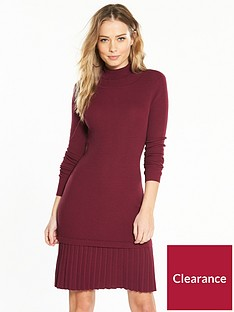 v-by-very-pleated-drop-waist-roll-neck-ribbed-knitted-dress-merlot