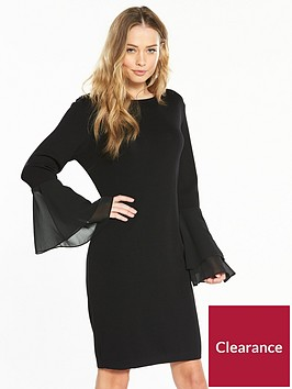 v-by-very-chiffon-flare-cuff-knitted-dress-black
