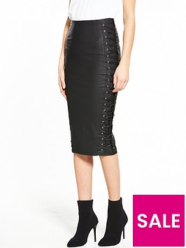 v-by-very-lace-up-coated-pencil-skirt
