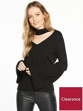 v-by-very-choker-neck-flare-sleeve-jumper-black