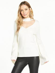 v-by-very-choker-neck-flare-sleeve-jumper-cream