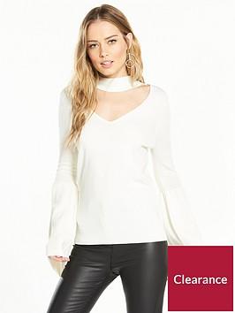 v-by-very-choker-neck-flare-sleeve-jumper-cream