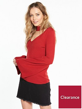 v-by-very-choker-neck-flare-sleeve-jumper-red
