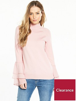 v-by-very-chiffon-tiered-flute-sleeve-jumper-blush-pink