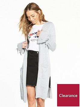 v-by-very-tie-cuff-split-side-maxi-cardigan-grey-marl