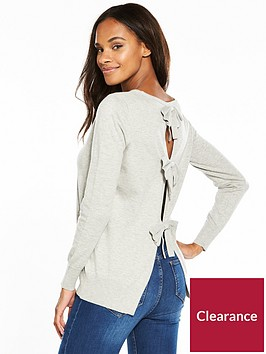 v-by-very-bow-open-back-detail-jumper