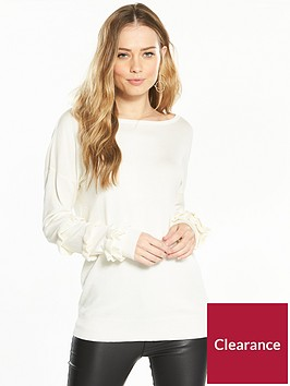 v-by-very-ruffle-sleeve-detail-tie-back-jumper-cream