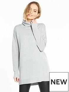 v-by-very-cowl-neck-seam-detail-stepped-hem-tunic-grey-marl