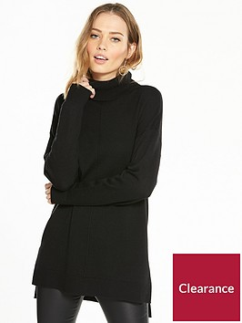 v-by-very-cowl-neck-seam-detail-stepped-hem-tunic-black