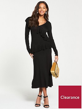 v-by-very-v-neck-ruffle-detail-fit-and-flare-knitted-dress-black