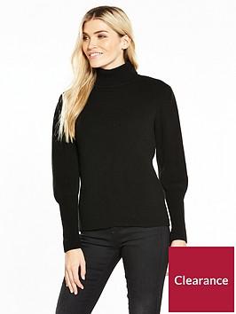 v-by-very-puff-sleeve-roll-neck-rib-jumper