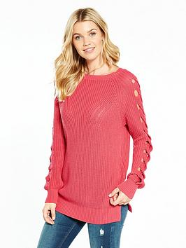 v-by-very-keyhole-cable-sleeve-rib-tunic-jumper