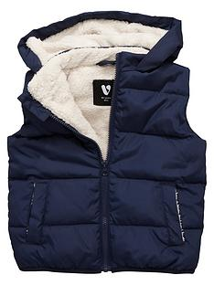 mini-v-by-very-boys-fleece-lined-navy-gilet-with-hood