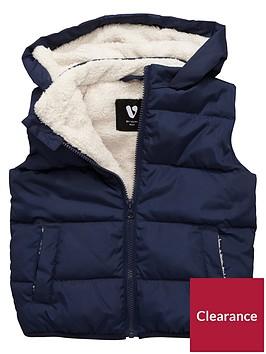 mini-v-by-very-boys-fleece-lined-navy-gilet-with-hood