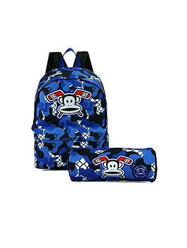 Paul Frank Blue Print Backpack And Pencil Case Set