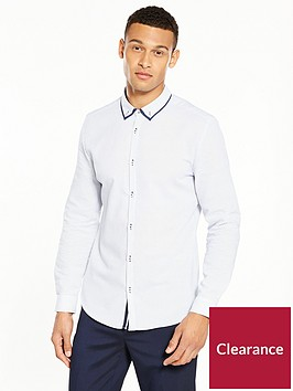river-island-long-sleeve-double-collar-slim-shirt