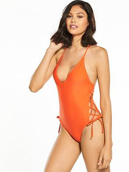 south-beach-lace-up-side-cut-out-swimsuit-orange
