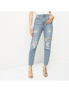river-island-ripped-mom-jeans