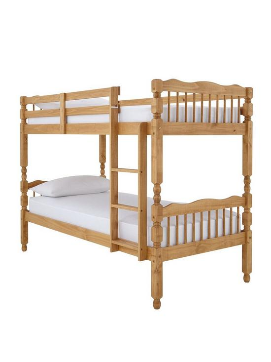 Spindle Solid Pine Detachable Bunk Bed With Mattress Options Very