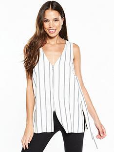 river-island-river-island-zip-detail-stripe-sleeveless-top