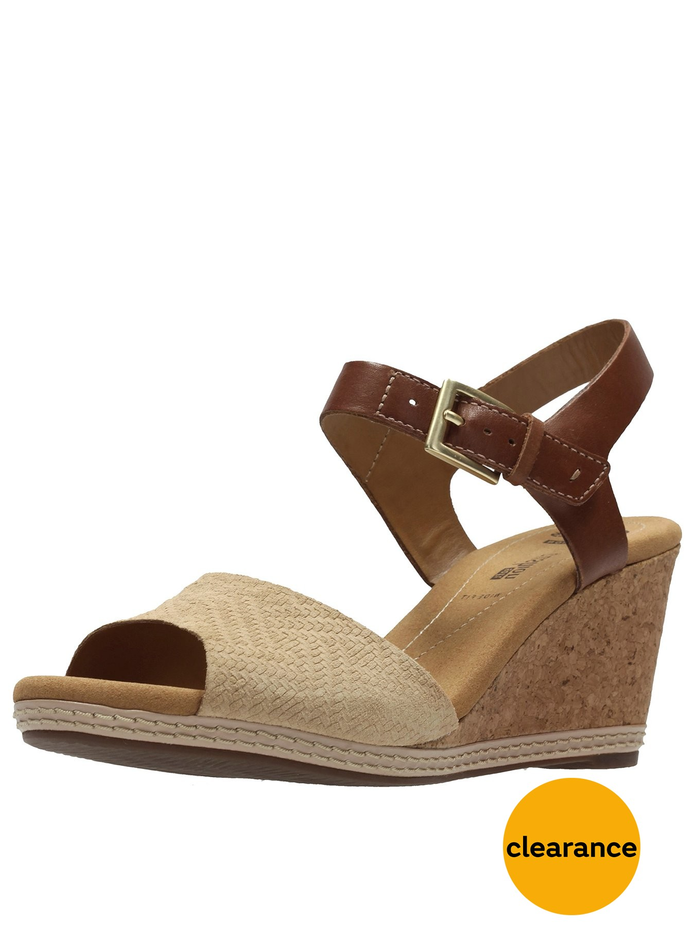 Cheap Clarks Helio Jet4 Wide Fit Wedge Nude Sandals for Women On Sale