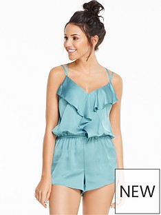 michelle-keegan-frill-front-satin-playsuit