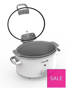 Crock-Pot Hinged Lid Saute Slow Cooker with DuraCeramic CSC038 - White