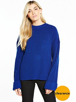 v-by-very-turn-back-cuff-rib-jumper-cobalt-blue