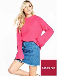 v-by-very-turn-back-cuff-rib-jumper-bright-pink