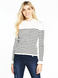 v-by-very-skinny-rib-turtleneck-frill-cuff-jumper-stripe