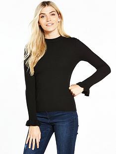 v-by-very-skinny-rib-turtleneck-frill-cuff-jumper-black
