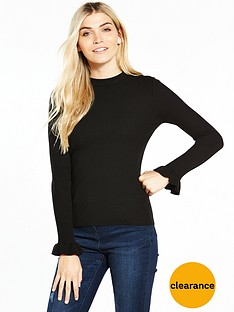 v-by-very-skinny-rib-turtleneck-frill-cuff-jumper-black