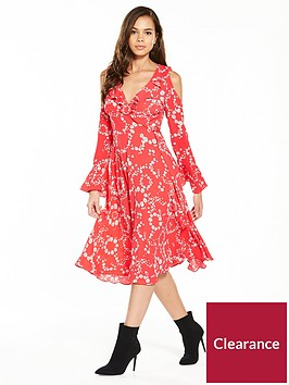 v-by-very-printed-cold-shoulder-wrap-dress