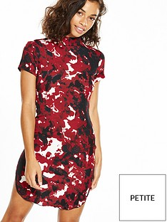 ax-paris-petite-short-sleeve-printed-curve-hem-mini-dress-red