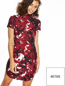 ax-paris-petite-short-sleeve-printed-curve-hem-mini-dress-red