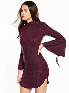 ax-paris-flure-sleeve-suedette-mini-dress-plum