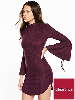 ax-paris-flure-sleeve-suedette-mini-dress-plum