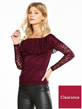 v-by-very-petite-frill-lace-bardot-top-wine