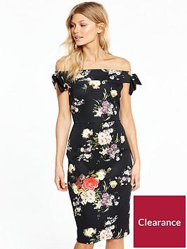 v-by-very-petite-bow-detail-bardot-pencil-dress