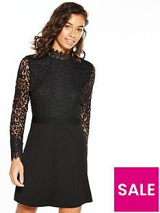 v-by-very-petite-lace-ponte-skirt-dress-black