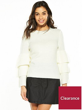 v-by-very-petite-frill-sleeve-knit-jumper-ivory