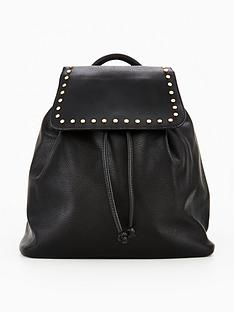 miss-selfridge-stud-rucksack-black