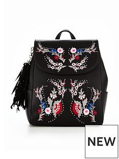 miss-selfridge-miiss-selfridge-black-embroidered-backpack