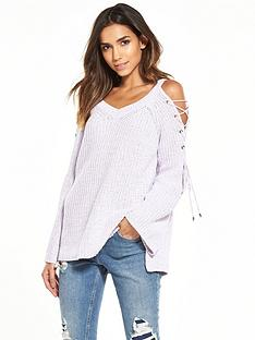 river-island-lilac-lace-up-jumper