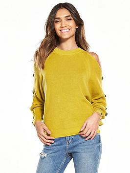 river-island-river-island-lime-cold-shoulder-jumper-with-buttons